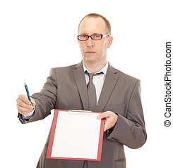 Business person with clipboard
