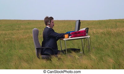 Business person working in open air virtual call center