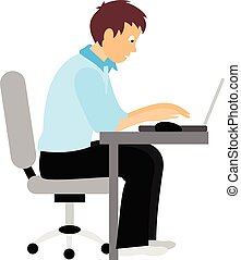 Business person working on computer.