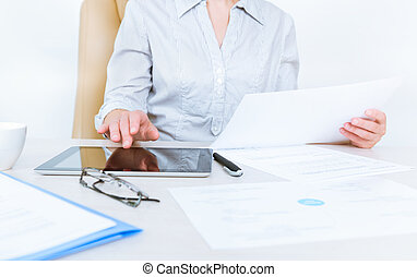 Business person working with documents - Business person...