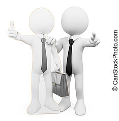 business, personnel, gens., coacher, blanc, 3d