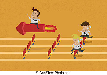 Business persons reaching the goal in a race , eps10 vector...
