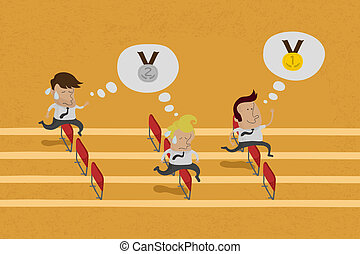 Business persons reaching the goal in a race , eps10 vector format