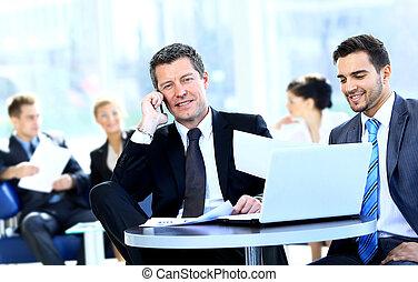business phone, čas, setkání, mluvení, voják