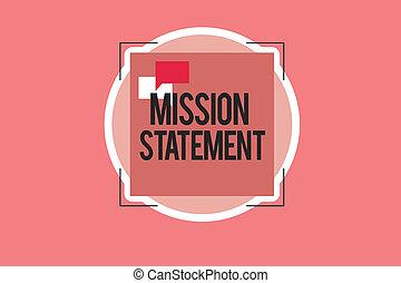 business, photo, projection, mission, vise, résumé, conceptuel, valeurs, main, showcasing, statement., écriture, compagnie, formel