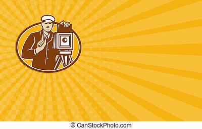 business, photographe, appareil photo, retro, vendange, devant, carte