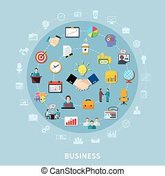 Business Pictograms Round Composition