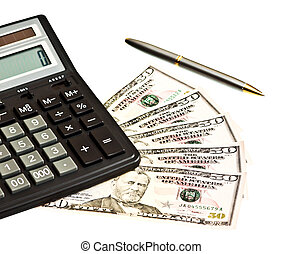 Business picture with money, calculator and pen