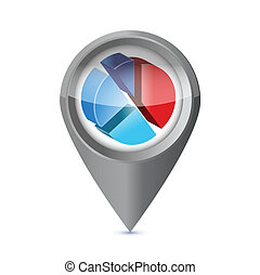business pie chart success pointer locator.