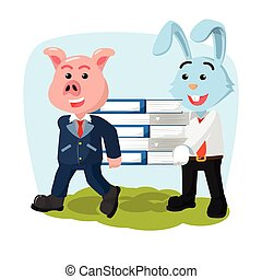 business pig and rabbit carrying book