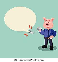 business pig talking trough callphone