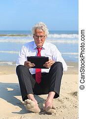 business, plage, tablette, fonctionnement, homme