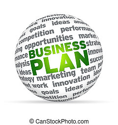 3D sphere with the word business plan on white background.