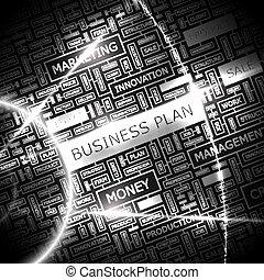BUSINESS PLAN. Background concept wordcloud illustration....