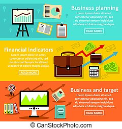 Business plan banner horizontal set, flat style