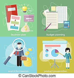 businesswoman presenting development and financial planning on meeting conference. Product presentation. Search for investors concept. Business plan concept icons in flat style. Budget planning concept