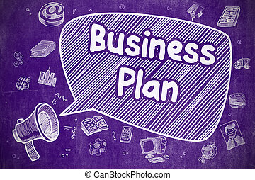 Business Plan - Cartoon Illustration on Purple Chalkboard.