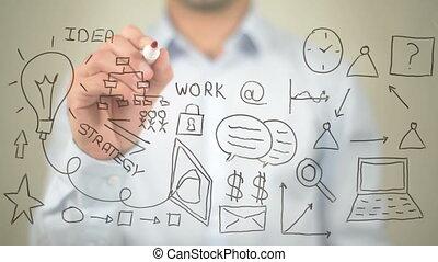 """Business Plan, Concept Illustration,  Man writing on transparent screen"""