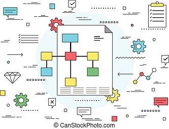 Business plan concept line style illustration