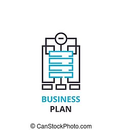 Business plan concept , outline icon, linear sign, thin line pictogram, logo, flat vector, illustration