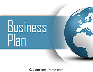 Business Plan concept with globe on white background
