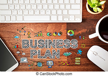 Business Plan concept with workstation