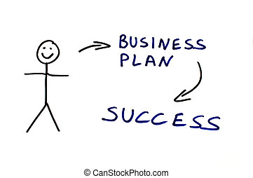 Business plan conception illustration over white