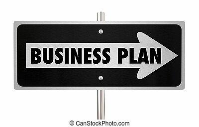 Business Plan Direction Goal Mission Arrow Road Sign 3d Illustration
