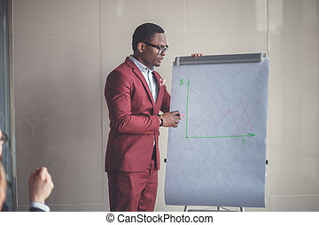 Business plan explained on flipchart by CEO to colleagues