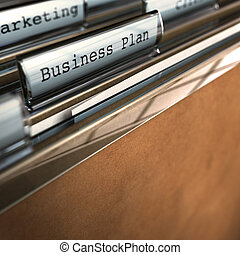 business plan folder in front of marketing folder, room for text focus on the word, blur effect