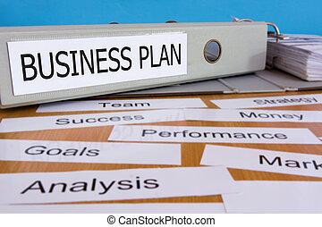 Business plan folder on wooden table