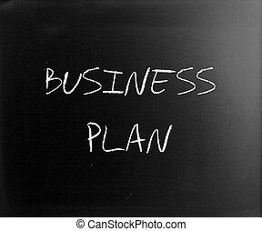 """business, plan"", handskrivet, med, vit, krita, på, a, blackboard"