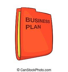 Business plan icon, cartoon style