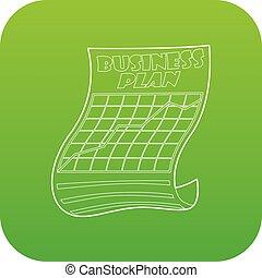 Business plan icon green vector