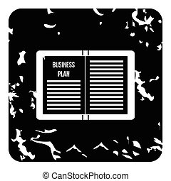 Business plan icon, grunge style