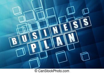 business plan in blue glass blocks