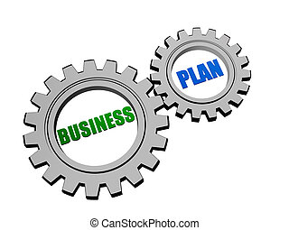 business plan in silver grey gears