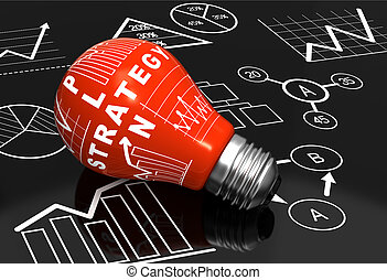 Light bulb with business charts