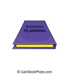 Business plan notebook icon, cartoon style