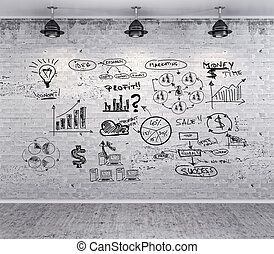 business plan on grunge vintage wall