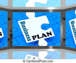 Business Plan On Screen Showing Business Strategies