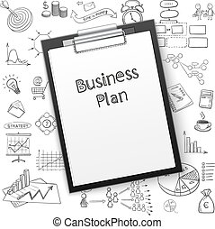 business plan on tablet with paper and hand draw icon