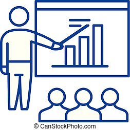 Business plan presentation line icon concept. Business plan presentation flat  vector symbol, sign, outline illustration.