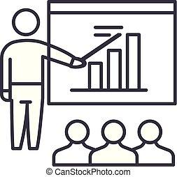 Business plan presentation line icon concept. Business plan presentation vector linear illustration, symbol, sign