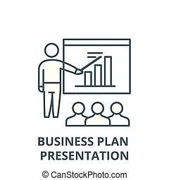 Business plan presentation line icon, vector. Business plan presentation outline sign, concept symbol, flat illustration