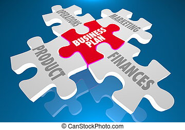 Business Plan Product Marketing Finances Puzzle 3d Illustration