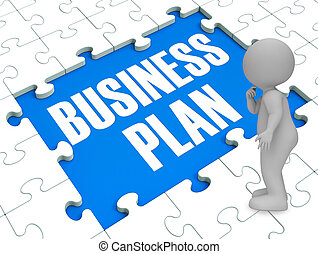 Business Plan Puzzle Shows Business 3d Rendering