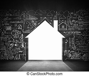 Construction concept - Business plan sketch on black wall. ...