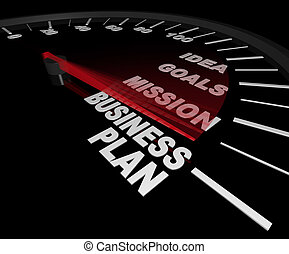 A speedometer with needle pointing to the words Business Plan