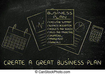 business plan & stats documents on office desk, with text Create a great business plan
